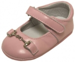 Girls Mocassin Leather w/ Chain-Pink Lea